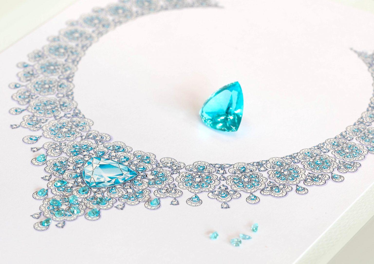 """Imagem da notícia: Chopard: coleção 'Precious Lace' mais rica com novo colar """"majestoso"""" com turmalina Paraíba"""
