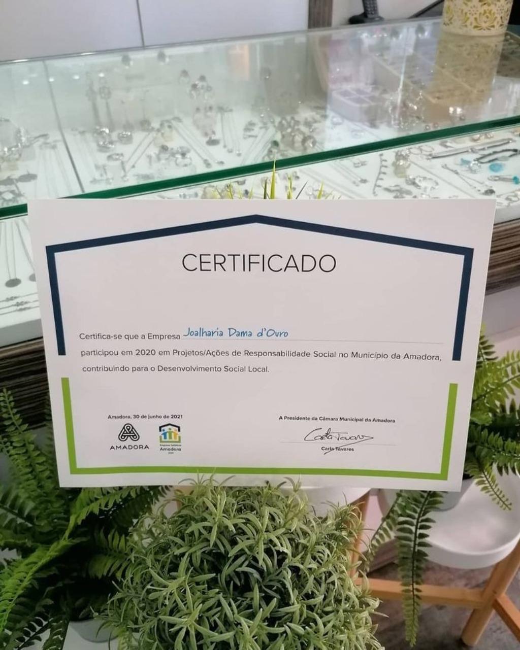 Imagem da notícia: Joalharia Dama D'Ouro alcança Certificado Solidário